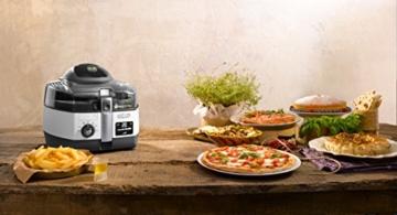 DeLonghi MultiFry Extra Chef FH1394/2 Heißluftfritteuse/Multicooker (1,7 kg Fassungsvermögen, 1.400W / 1.000W, 8 Portionen, SHS-Double-Pro, Rezepte-App) grau/weiß - 3