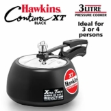 Hawkins CXT30 Contura Hard Anodized Induction Compatible Extra Thick Base Pressure Cooker, Black, 3L, 3 L - 1