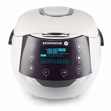 Reishunger Digitaler Reiskocher (1,5l/860W/220V) Multikocher mit 12 Programmen, 7-Phasen-Technologie, Premium-Innentopf, Timer- und Warmhaltefunktion – Reis für bis zu 8 Personen - 1