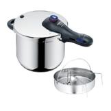 WMF Perfect Plus Schnellkochtopf 8,5l mit Einsatz-Set, Cromargan Edelstahl poliert, 2 Kochstufen Einhand-Kochstufenregler, induktionsgeeignet, spülmaschinengeeignet, Ø 22 cm - 1