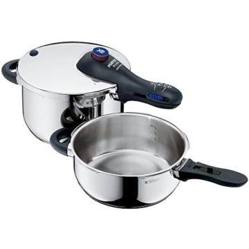 WMF Perfect Plus Schnellkochtopf Set 2-teilig 4,5l & 3,0l, Cromargan Edelstahl poliert, 2 Kochstufen Einhand-Kochstufenregler, induktionsgeeignet, spülmaschinengeeignet, Ø 22 cm - 1