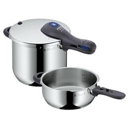 WMF Perfect Plus Schnellkochtopf Set 2-teilig 6,5l & 3,0l, Cromargan Edelstahl poliert, 2 Kochstufen Einhand-Kochstufenregler, induktionsgeeignet, spülmaschinengeeignet, Ø 22 cm - 1