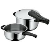 WMF Perfect Schnellkochtopf Set 2-teilig 4,5l & 3,0l, Cromargan Edelstahl poliert, 2 Kochstufen Einhand-Kochstufenregler, induktionsgeeignet, spülmaschinengeeignet, Ø 22 cm - 1