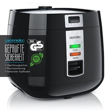 Arendo - Reiskocher | Dampfgarer/Dampfgarerfunktion | 1,4l Kapazität | Überhitzungsschutz + Thermosicherung | automatische Warmhaltefunktion | 540W | wärmeisolierendes Doppelwanddesign - 2