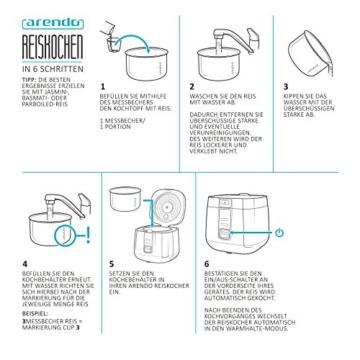 Arendo - Reiskocher | Dampfgarer/Dampfgarerfunktion | 1,4l Kapazität | Überhitzungsschutz + Thermosicherung | automatische Warmhaltefunktion | 540W | wärmeisolierendes Doppelwanddesign - 6