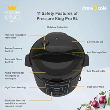 High Street TV Pressure King Pro 12-in-1 Elektrischer Schnellkochtopf, 5 Liter, 900 W, Chrom/Schwarz/Rot 5 l rot - 5