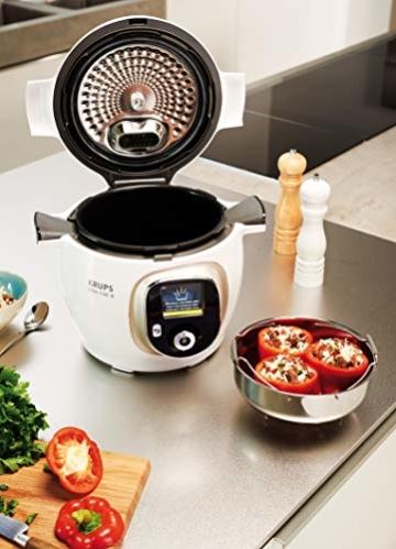 Krups Cook4Me+ CZ7101 Multikocher (Garen unter Druck für schnelle und frische Gerichte, 6 Liter Fassungsvermögen, 1.600 Watt, inkl. Rezeptbuch) weiß/grau - 4