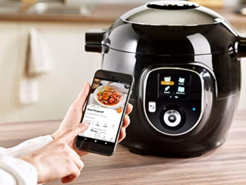Krups CZ7158 Cook4Me+ Connect Multikocher (1600 Watt, für schnelle und frische Gerichte, 4 l Nutzvolumen, 150 vorprogrammierte Rezepte, inkl. Rezeptbuch) schwarz/Grau - 4