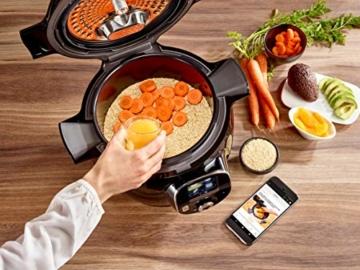 Krups CZ7158 Cook4Me+ Connect Multikocher (1600 Watt, für schnelle und frische Gerichte, 4 l Nutzvolumen, 150 vorprogrammierte Rezepte, inkl. Rezeptbuch) schwarz/Grau - 7