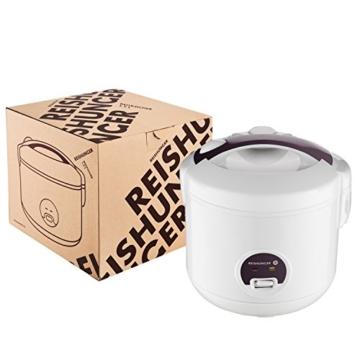 Reishunger Reiskocher (1,2l / 500W / 220V) Warmhaltefunktion, hochwertiger Innentopf, Löffel und Messbecher – Reis für bis zu 6 Personen - 2
