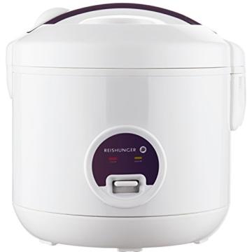 Reishunger Reiskocher (1,2l / 500W / 220V) Warmhaltefunktion, hochwertiger Innentopf, Löffel und Messbecher – Reis für bis zu 6 Personen - 1