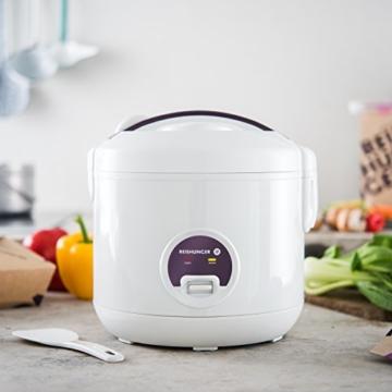 Reishunger Reiskocher (1,2l / 500W / 220V) Warmhaltefunktion, hochwertiger Innentopf, Löffel und Messbecher – Reis für bis zu 6 Personen - 5