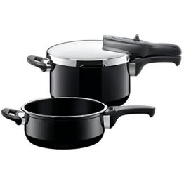 Silit Sicomatic t-plus Schnellkochtopf Set 2-teilig, 4,5 l und 3,0 l, Silargan Funktionskeramik, 3 Kochstufen Einhand-Kochstufenregler induktionsgeeignet, spülmaschinengeeignet, Ø 22 cm, schwarz - 1
