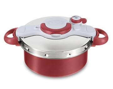 Tefal Clipso minut Duo Schnellkochtopf 5L Aluminium mit 5Sicherungssysteme und einfacher Verschluss mit einer Hand, grau und rot - 1