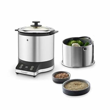 WMF KÜCHENminis Reiskocher mit Lunch-to-go-Box , Damfgarer, platzsparend, Extra To-Go-Deckel macht den Innentopf (1,0l) ohne Umfüllen zur festverschlossenen Lunchbox zum Mitnehmen, 220 W - 2