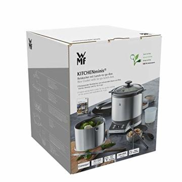 WMF KÜCHENminis Reiskocher mit Lunch-to-go-Box , Damfgarer, platzsparend, Extra To-Go-Deckel macht den Innentopf (1,0l) ohne Umfüllen zur festverschlossenen Lunchbox zum Mitnehmen, 220 W - 10