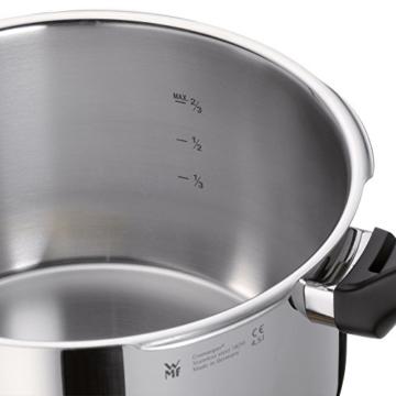 WMF Perfect Plus Schnellkochtopf 6,5l mit Einsatz, Cromargan Edelstahl poliert, 2 Kochstufen Einhand-Kochstufenregler, induktionsgeeignet, spülmaschinengeeignet, Ø 22 cm - 3