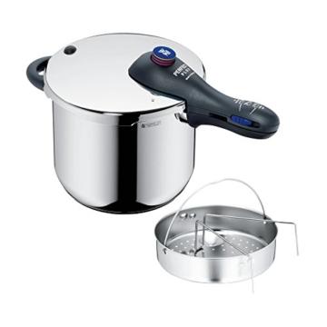 WMF Perfect Plus Schnellkochtopf 6,5l mit Einsatz, Cromargan Edelstahl poliert, 2 Kochstufen Einhand-Kochstufenregler, induktionsgeeignet, spülmaschinengeeignet, Ø 22 cm - 1