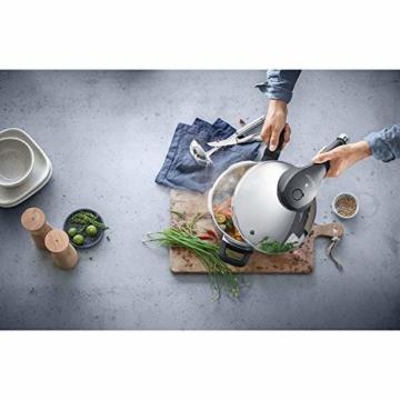 WMF Perfect Premium Schnellkochtopf Set 2-teilig 6,5l & 3,0l mit Einsatz-Set, Cromargan Edelstahl poliert, 2 Kochstufen Einhand-Kochstufenregler, induktionsgeeignet, spülmaschinengeeignet, Ø 22 cm - 8