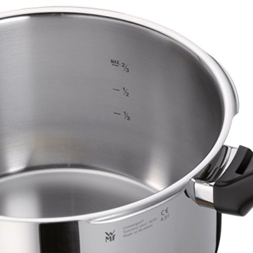 WMF Perfect Schnellkochtopf 3,0l, Cromargan Edelstahl poliert, 2 Kochstufen Einhand-Kochstufenregler, induktionsgeeignet, spülmaschinengeeignet, Ø 22 cm - 3