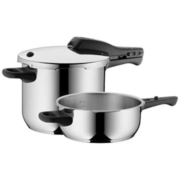 WMF Perfect Schnellkochtopf Set 2-teilig 6,5l & 3,0l, Cromargan Edelstahl poliert, 2 Kochstufen Einhand-Kochstufenregler, induktionsgeeignet, spülmaschinengeeignet, Ø 22 cm - 1