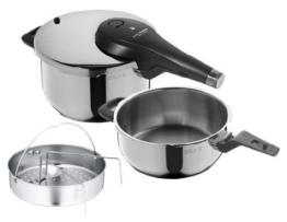 WMF Perfect Premium Schnellkochtopf Set 2-teilig 4,5l & 3,0l mit Einsatz-Set, Cromargan Edelstahl poliert, 2 Kochstufen Einhand-Kochstufenregler, induktionsgeeignet, spülmaschinengeeignet, Ø 22 cm - 1